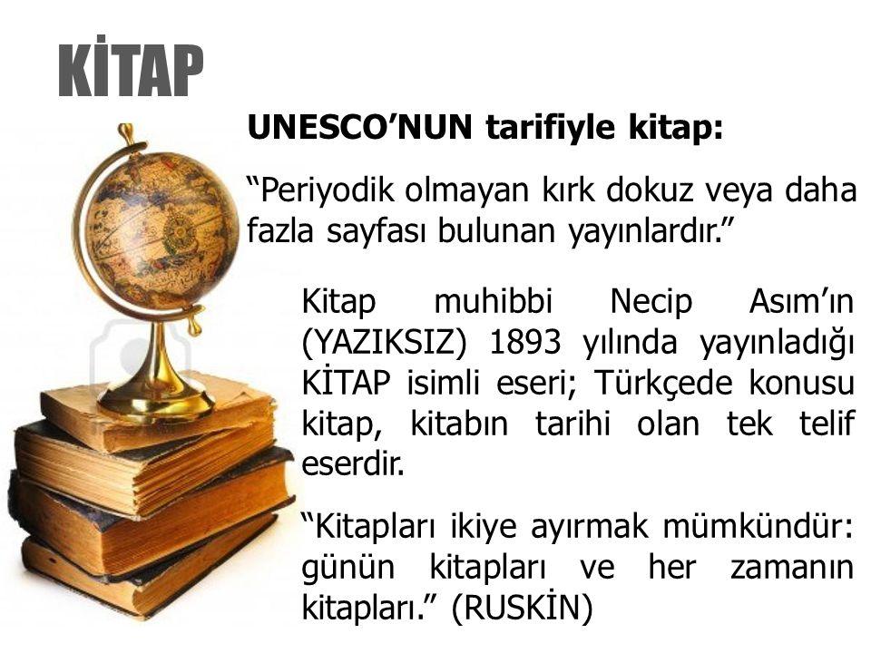"""KİTAP UNESCO'NUN tarifiyle kitap: """"Periyodik olmayan kırk dokuz veya daha fazla sayfası bulunan yayınlardır."""" Kitap muhibbi Necip Asım'ın (YAZIKSIZ) 1"""