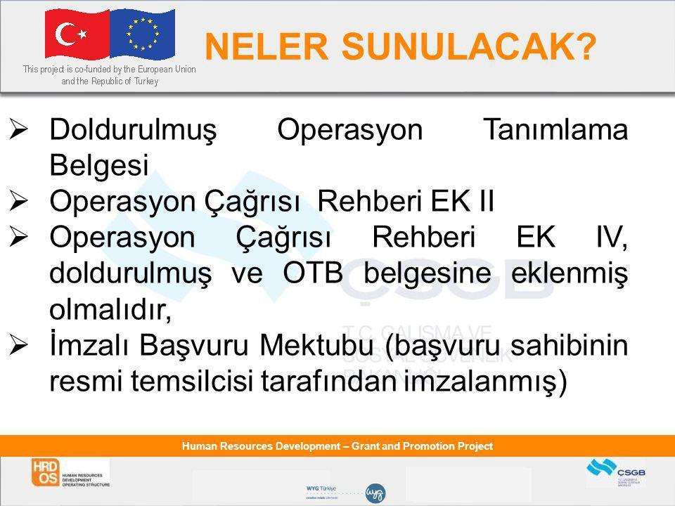 Human Resources Development – Grant and Promotion Project NELER SUNULACAK.