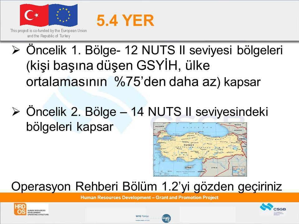 Human Resources Development – Grant and Promotion Project 5.4 YER  Öncelik 1. Bölge- 12 NUTS II seviyesi bölgeleri ( kişi başına düşen GSYİH, ülke or