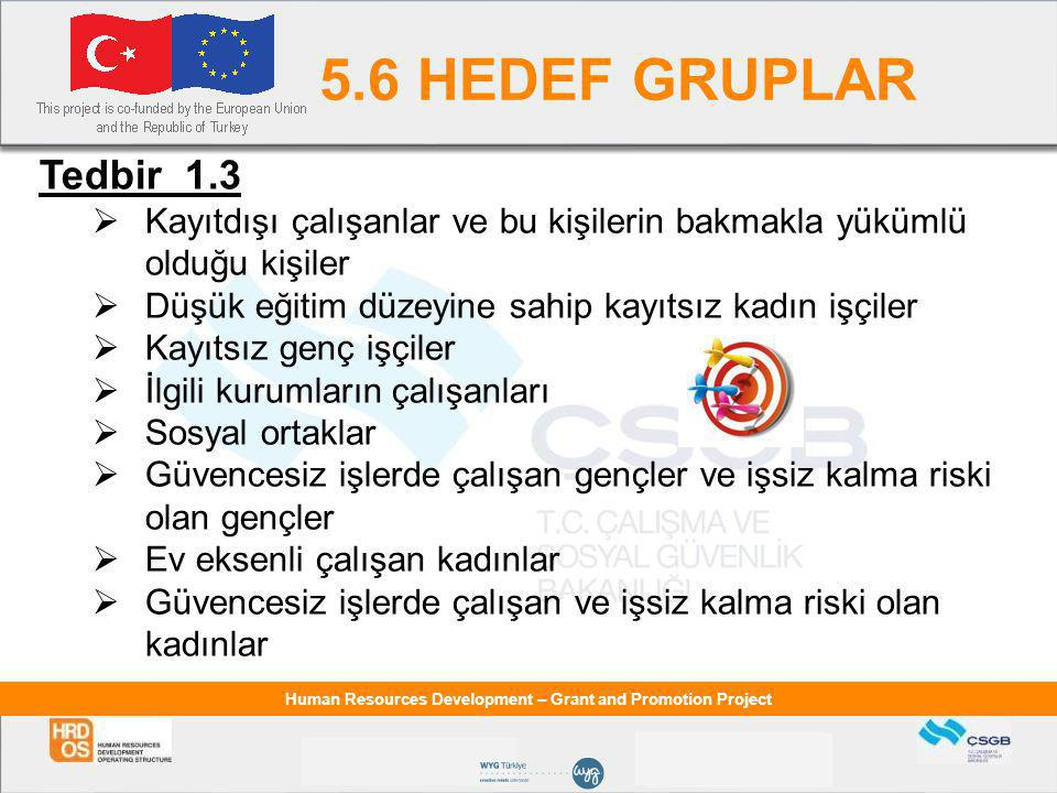 Human Resources Development – Grant and Promotion Project 5.6 HEDEF GRUPLAR Tedbir 1.3  Kayıtdışı çalışanlar ve bu kişilerin bakmakla yükümlü olduğu