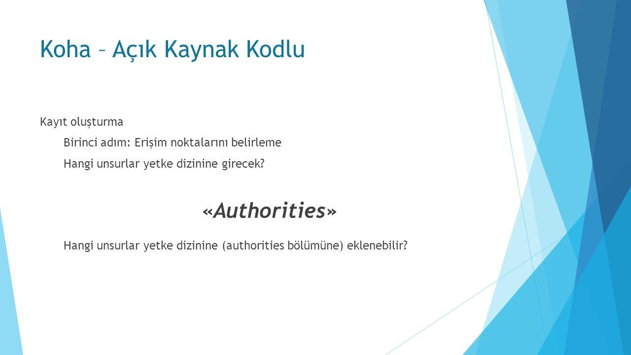Koha – Açık Kaynak Kodlu Kayıt oluşturma Birinci adım: Erişim noktalarını belirleme Hangi unsurlar yetke dizinine girecek.
