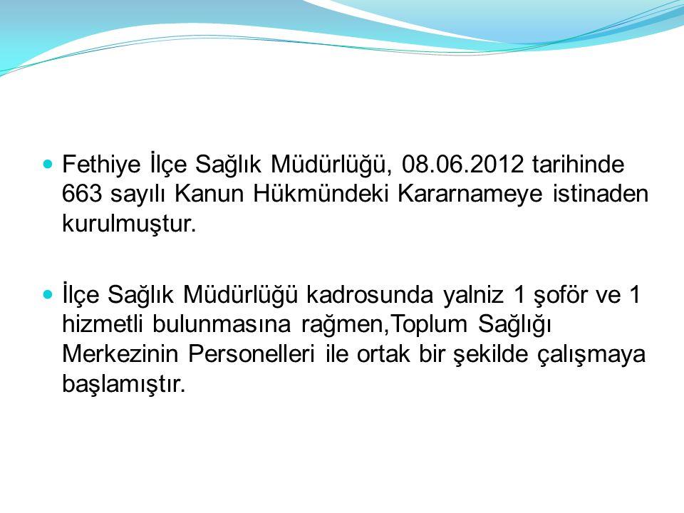  Fethiye İlçe Sağlık Müdürlüğü, 08.06.2012 tarihinde 663 sayılı Kanun Hükmündeki Kararnameye istinaden kurulmuştur.