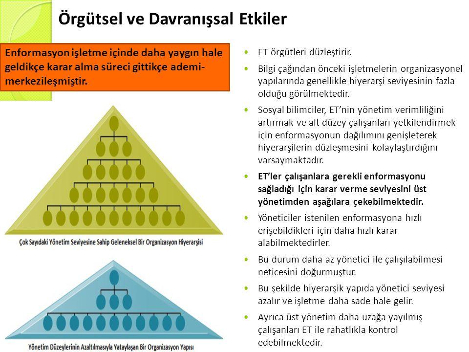 Örgütsel ve Davranışsal Etkiler  ET örgütleri düzleştirir.  Bilgi çağından önceki işletmelerin organizasyonel yapılarında genellikle hiyerarşi seviy