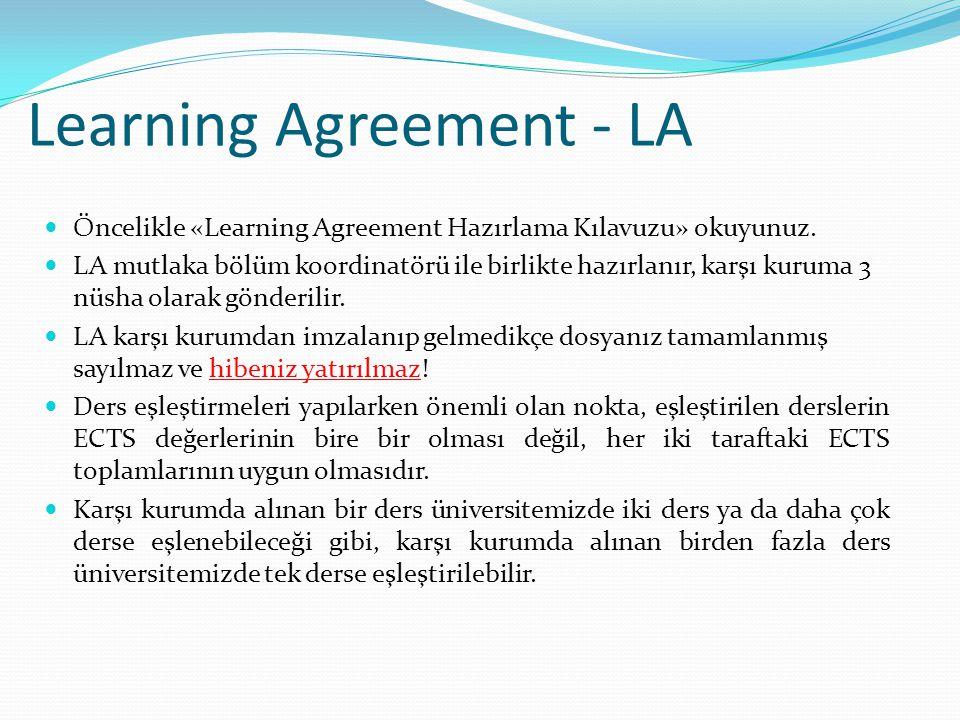 Learning Agreement - LA  Öncelikle «Learning Agreement Hazırlama Kılavuzu» okuyunuz.  LA mutlaka bölüm koordinatörü ile birlikte hazırlanır, karşı k