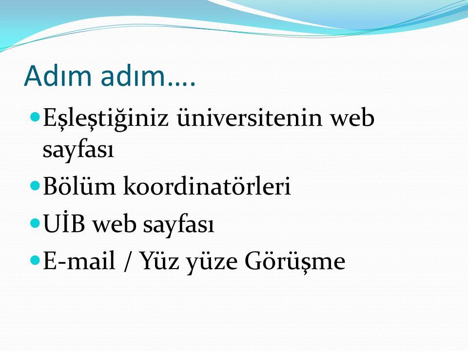 Adım adım….  Eşleştiğiniz üniversitenin web sayfası  Bölüm koordinatörleri  UİB web sayfası  E-mail / Yüz yüze Görüşme