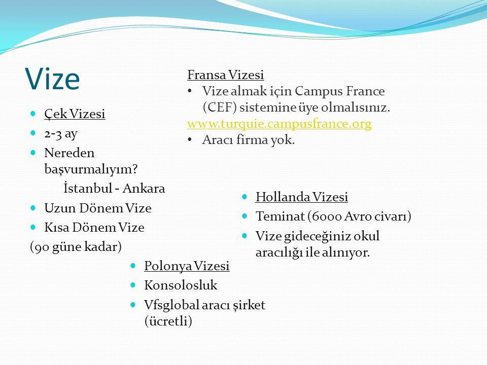 Vize  Çek Vizesi  2-3 ay  Nereden başvurmalıyım? İstanbul - Ankara  Uzun Dönem Vize  Kısa Dönem Vize (90 güne kadar) Fransa Vizesi • Vize almak i