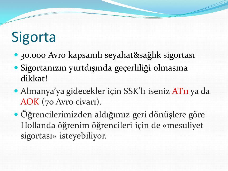 Sigorta  30.000 Avro kapsamlı seyahat&sağlık sigortası  Sigortanızın yurtdışında geçerliliği olmasına dikkat!  Almanya'ya gidecekler için SSK'lı is