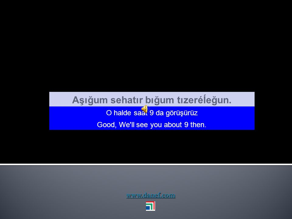www.danef.com Arı, şans siağ Evet doğru şanslıydım. Yes tha ṫ s rigth. I was lucq.