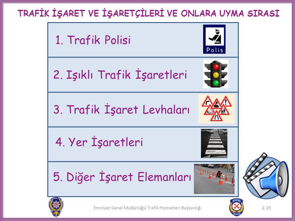 Emniyet Genel Müdürlüğü Trafik Hizmetleri Başkanlığı TRAFİK İŞARET VE İŞARETÇİLERİ VE ONLARA UYMA SIRASI 2.19 1. Trafik Polisi 2. Işıklı Trafik İşaret