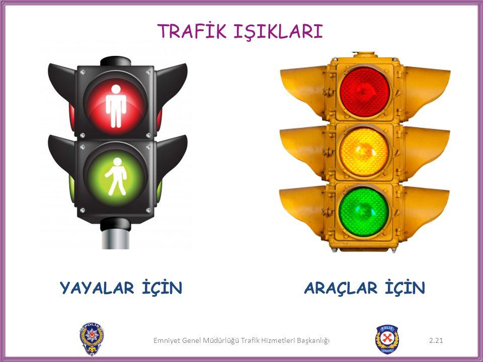 Emniyet Genel Müdürlüğü Trafik Hizmetleri Başkanlığı 2.21 TRAFİK IŞIKLARI YAYALAR İÇİNARAÇLAR İÇİN