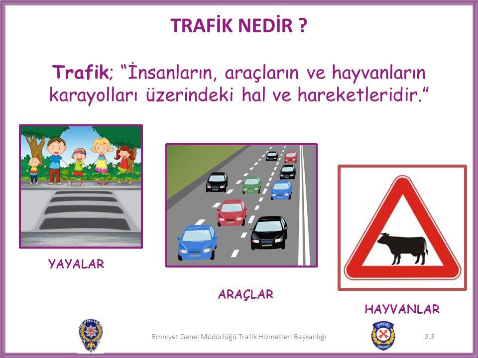Emniyet Genel Müdürlüğü Trafik Hizmetleri Başkanlığı 2.14 Trafikte;  Araçları,  İnsanları,  Trafik görevlilerini,  Trafik işaretlerini,  Yolu ve yol işaretlerini görerek hareket etmeliyiz.