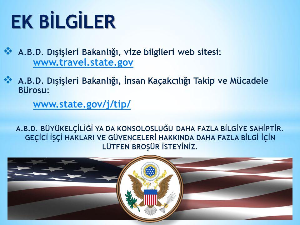 EK BİLGİLER  A.B.D. Dışişleri Bakanlığı, vize bilgileri web sitesi: www.travel.state.gov www.travel.state.gov  A.B.D. Dışişleri Bakanlığı, İnsan Kaç