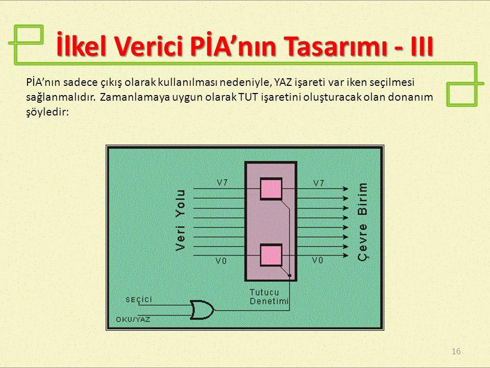 İlkel Verici PİA'nın Tasarımı - III 16 PİA'nın sadece çıkış olarak kullanılması nedeniyle, YAZ işareti var iken seçilmesi sağlanmalıdır.