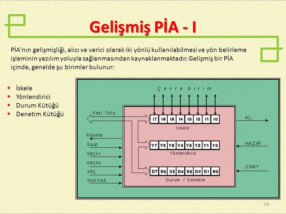 Gelişmiş PİA - I 19 PİA nın gelişmişliği, alıcı ve verici olarak iki yönlü kullanılabilmesi ve yön belirleme işleminin yazılım yoluyla sağlanmasından kaynaklanmaktadır.