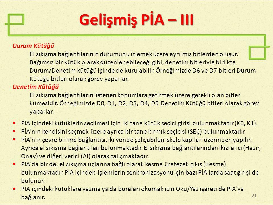 Gelişmiş PİA – III 21 Durum Kütüğü El sıkışma bağlantılarının durumunu izlemek üzere ayrılmış bitlerden oluşur.