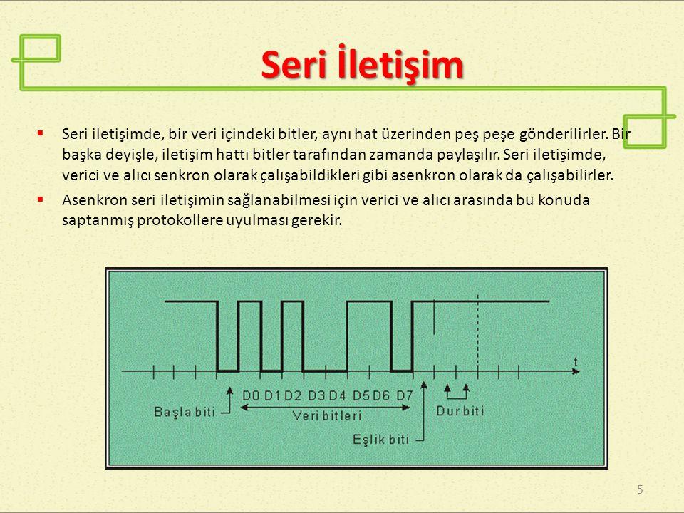 Seri İletişim 5  Seri iletişimde, bir veri içindeki bitler, aynı hat üzerinden peş peşe gönderilirler.