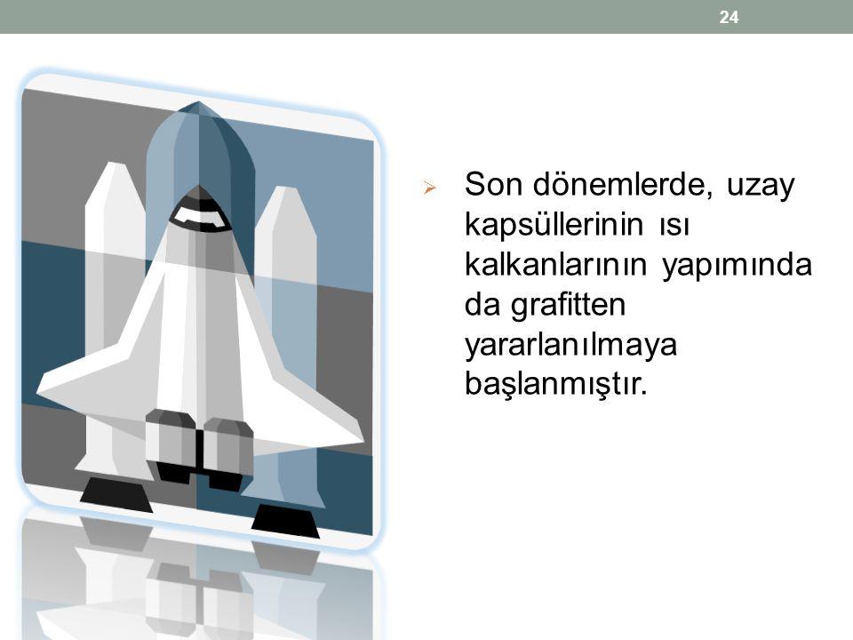  Son dönemlerde, uzay kapsüllerinin ısı kalkanlarının yapımında da grafitten yararlanılmaya başlanmıştır. 24