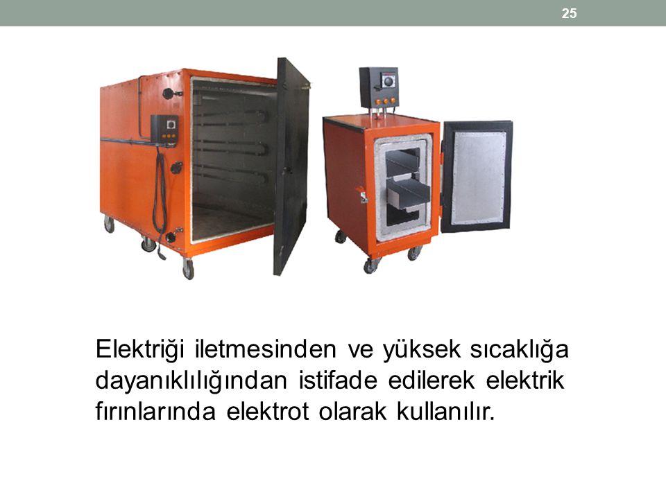 Elektriği iletmesinden ve yüksek sıcaklığa dayanıklılığından istifade edilerek elektrik fırınlarında elektrot olarak kullanılır. 25