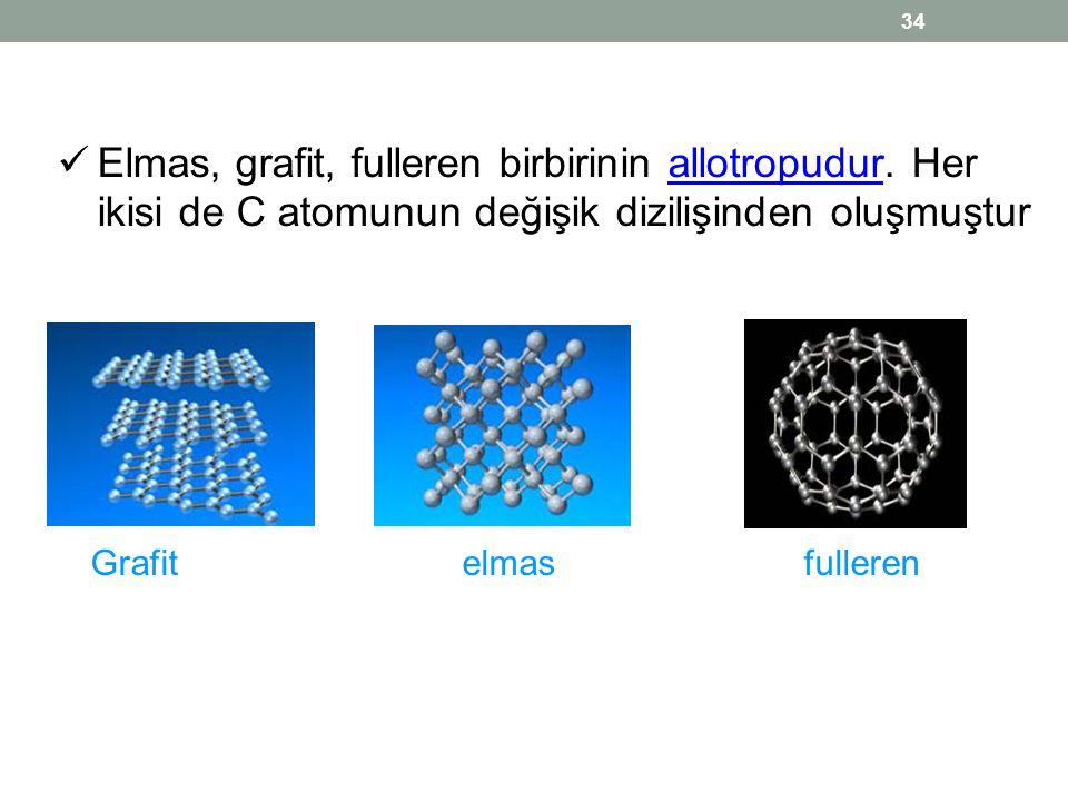  Elmas, grafit, fulleren birbirinin allotropudur. Her ikisi de C atomunun değişik dizilişinden oluşmuşturallotropudur Grafit elmas fulleren 34