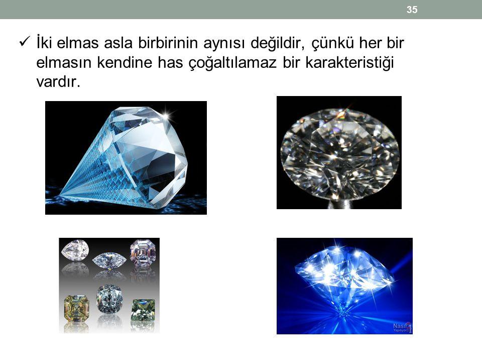  İki elmas asla birbirinin aynısı değildir, çünkü her bir elmasın kendine has çoğaltılamaz bir karakteristiği vardır. 35