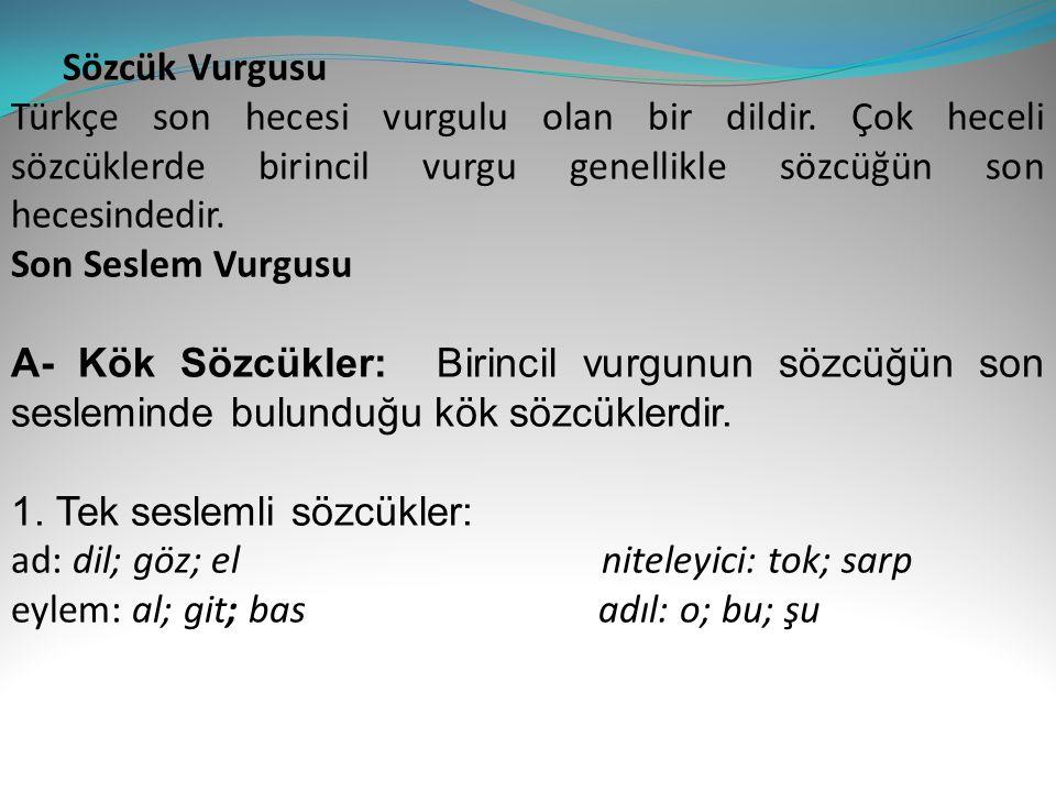 Sözcük Vurgusu Türkçe son hecesi vurgulu olan bir dildir. Çok heceli sözcüklerde birincil vurgu genellikle sözcüğün son hecesindedir. Son Seslem Vurgu
