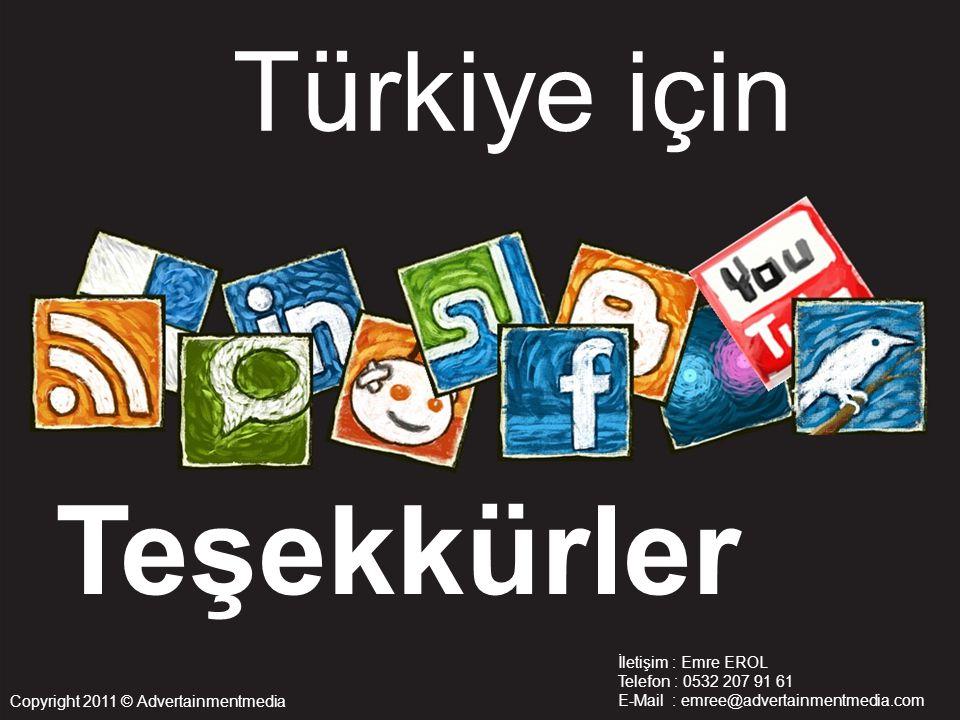 Teşekkürler Türkiye için İletişim : Emre EROL Telefon : 0532 207 91 61 E-Mail : emree@advertainmentmedia.com Copyright 2011 © Advertainmentmedia