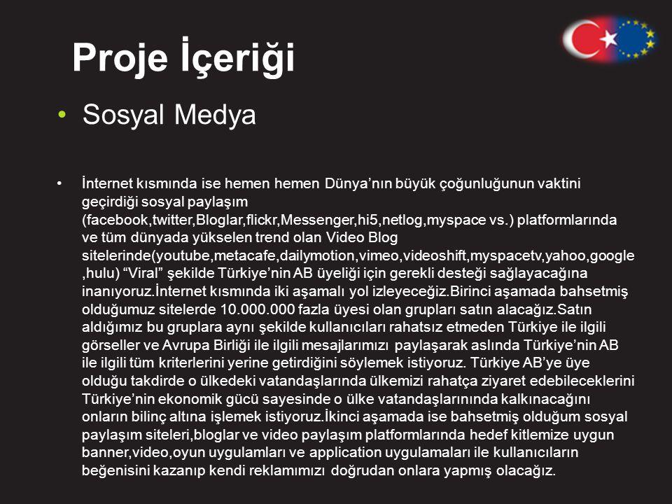 Proje İçeriği •Sosyal Medya •İnternet kısmında ise hemen hemen Dünya'nın büyük çoğunluğunun vaktini geçirdiği sosyal paylaşım (facebook,twitter,Bloglar,flickr,Messenger,hi5,netlog,myspace vs.) platformlarında ve tüm dünyada yükselen trend olan Video Blog sitelerinde(youtube,metacafe,dailymotion,vimeo,videoshift,myspacetv,yahoo,google,hulu) Viral şekilde Türkiye'nin AB üyeliği için gerekli desteği sağlayacağına inanıyoruz.İnternet kısmında iki aşamalı yol izleyeceğiz.Birinci aşamada bahsetmiş olduğumuz sitelerde 10.000.000 fazla üyesi olan grupları satın alacağız.Satın aldığımız bu gruplara aynı şekilde kullanıcıları rahatsız etmeden Türkiye ile ilgili görseller ve Avrupa Birliği ile ilgili mesajlarımızı paylaşarak aslında Türkiye'nin AB ile ilgili tüm kriterlerini yerine getirdiğini söylemek istiyoruz.