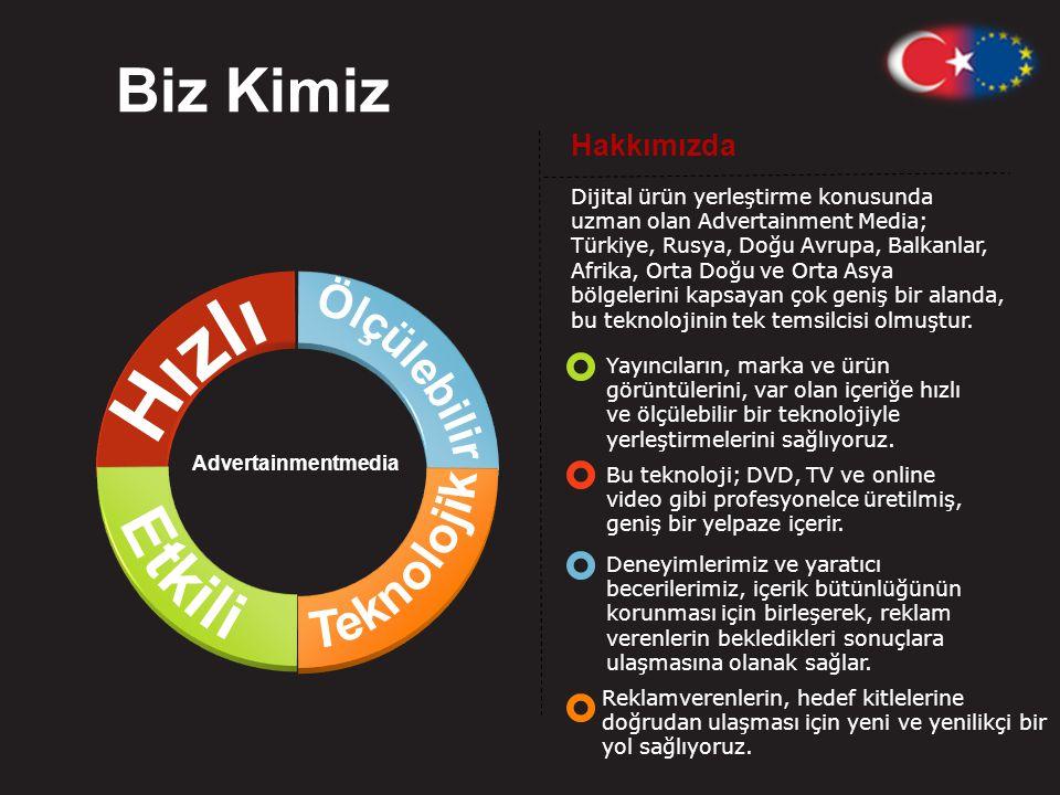 Hakkımızda Dijital ürün yerleştirme konusunda uzman olan Advertainment Media; Türkiye, Rusya, Doğu Avrupa, Balkanlar, Afrika, Orta Doğu ve Orta Asya bölgelerini kapsayan çok geniş bir alanda, bu teknolojinin tek temsilcisi olmuştur.