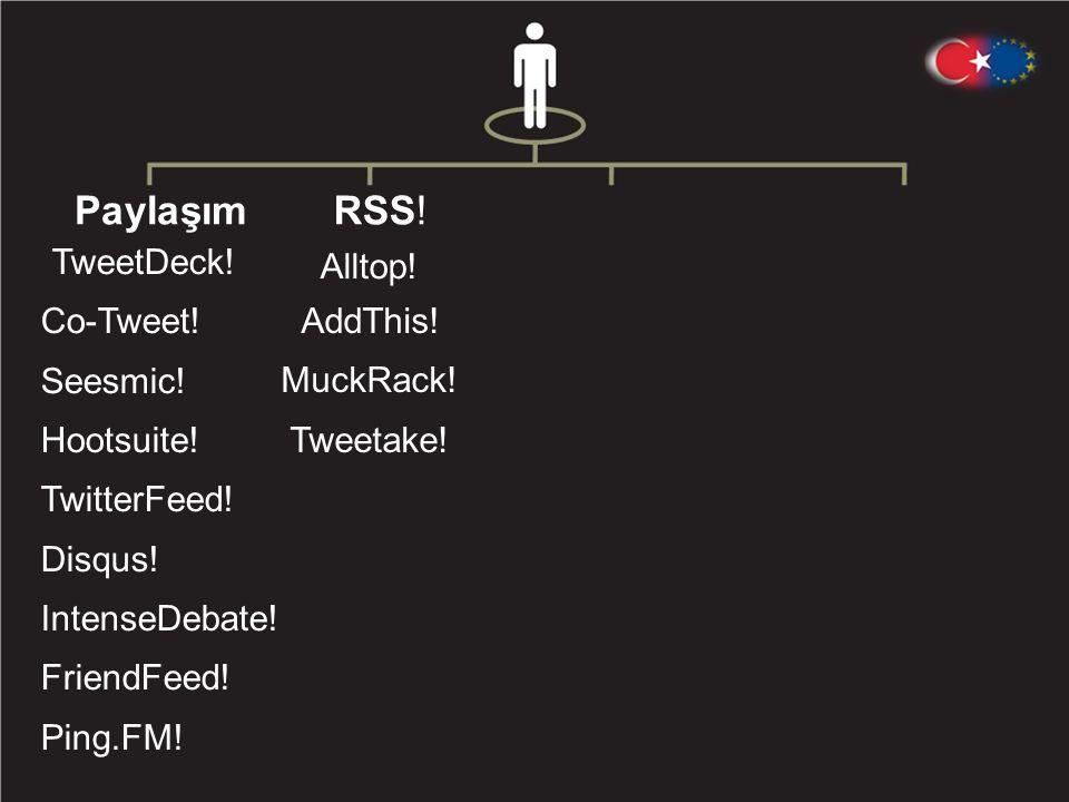RSS .Alltop . AddThis . MuckRack . Tweetake . Paylaşım TweetDeck .