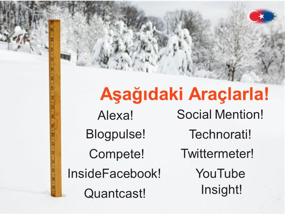 Aşağıdaki Araçlarla.Alexa . Blogpulse . Compete .