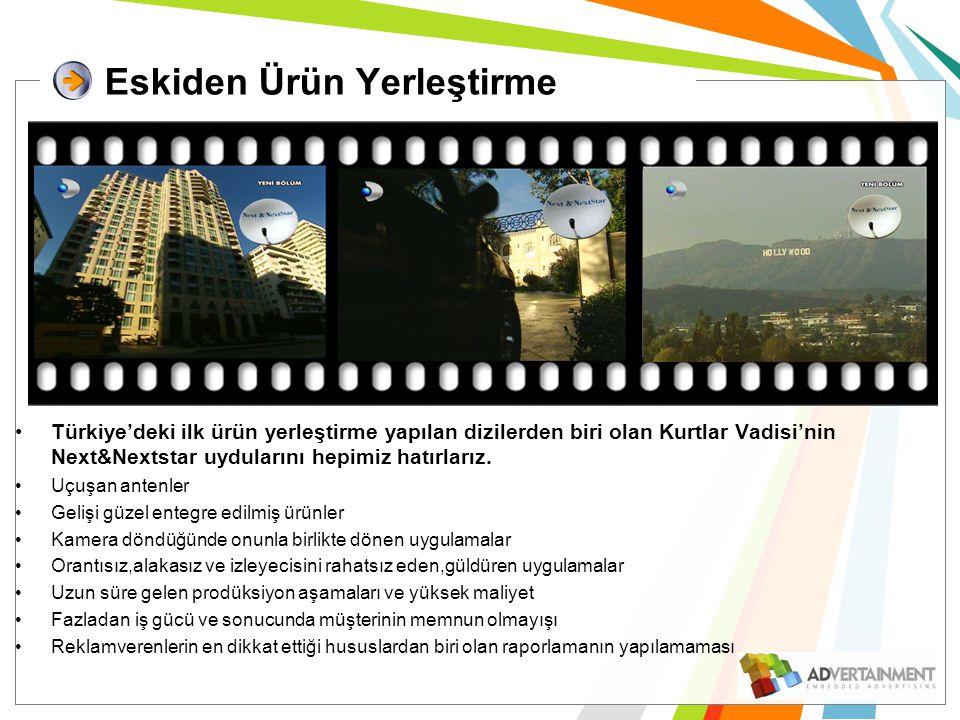 Eskiden Ürün Yerleştirme •Türkiye'deki ilk ürün yerleştirme yapılan dizilerden biri olan Kurtlar Vadisi'nin Next&Nextstar uydularını hepimiz hatırlarız.
