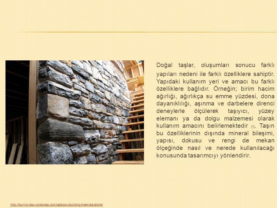 Doğal taşlar, oluşumları sonucu farklı yapıları nedeni ile farklı özelliklere sahiptir. Yapıdaki kullanım yeri ve amacı bu farklı özelliklere bağlıdır