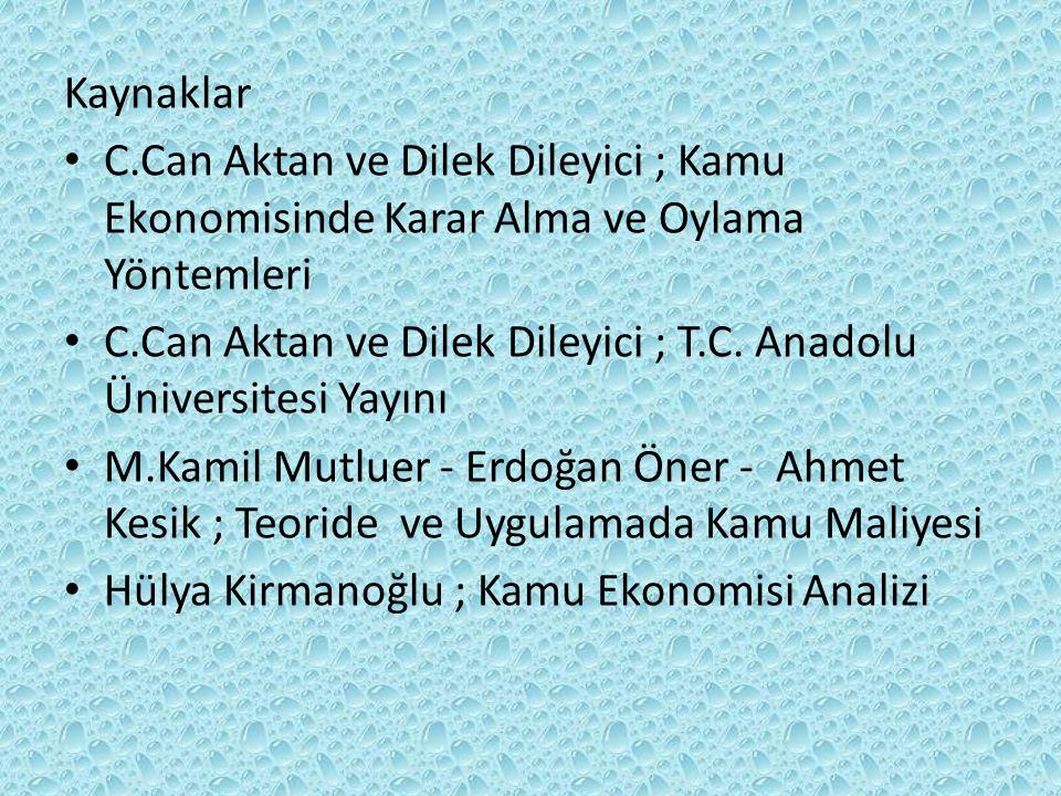 Kaynaklar • C.Can Aktan ve Dilek Dileyici ; Kamu Ekonomisinde Karar Alma ve Oylama Yöntemleri • C.Can Aktan ve Dilek Dileyici ; T.C. Anadolu Üniversit