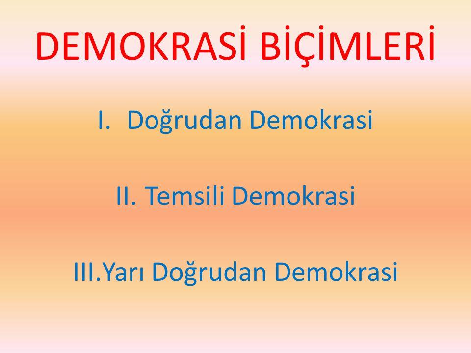 DEMOKRASİ BİÇİMLERİ I.Doğrudan Demokrasi II.Temsili Demokrasi III.Yarı Doğrudan Demokrasi