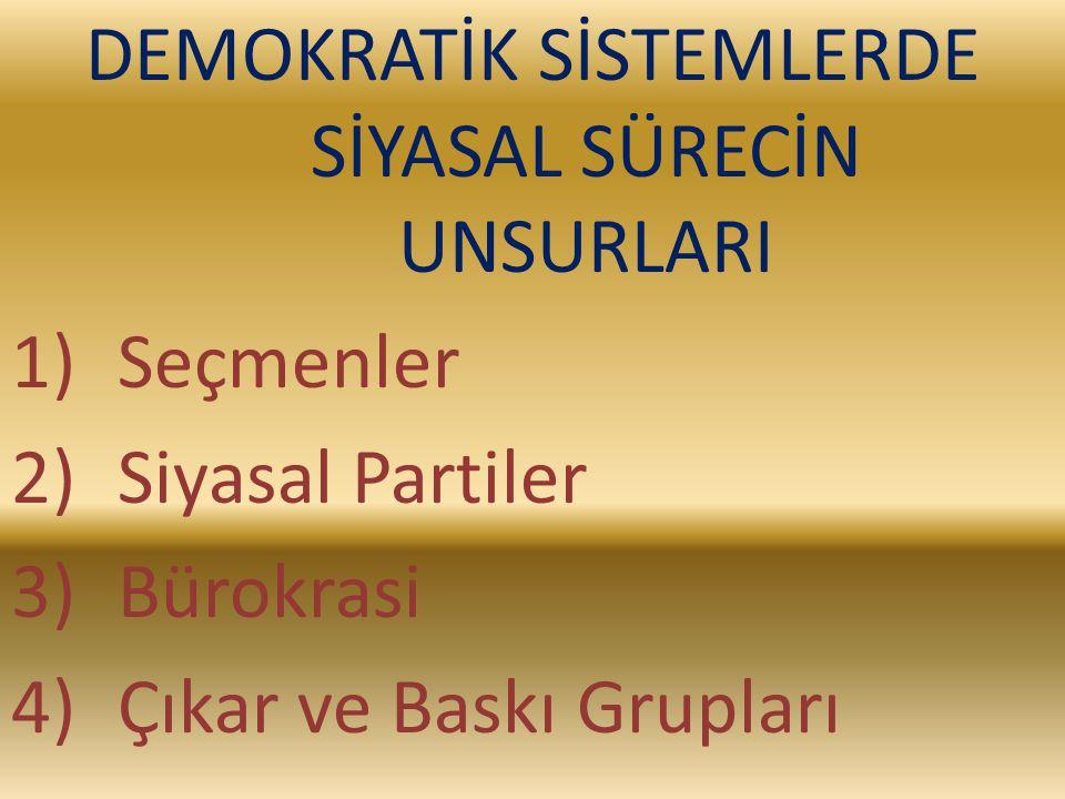 DEMOKRATİK SİSTEMLERDE SİYASAL SÜRECİN UNSURLARI 1)Seçmenler 2)Siyasal Partiler 3)Bürokrasi 4)Çıkar ve Baskı Grupları