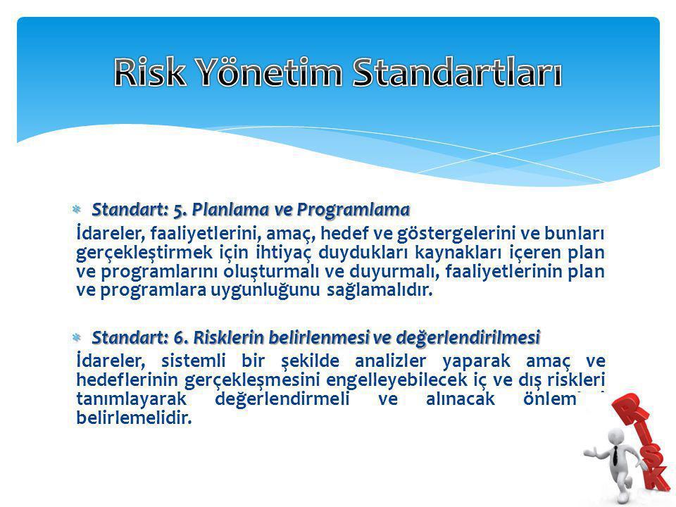  Standart: 5. Planlama ve Programlama İdareler, faaliyetlerini, amaç, hedef ve göstergelerini ve bunları gerçekleştirmek için ihtiyaç duydukları kayn
