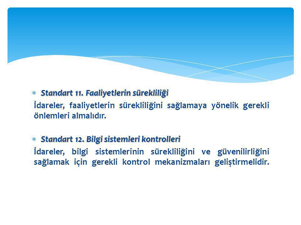  Standart 11. Faaliyetlerin sürekliliği İdareler, faaliyetlerin sürekliliğini sağlamaya yönelik gerekli önlemleri almalıdır.  Standart 12. Bilgi sis