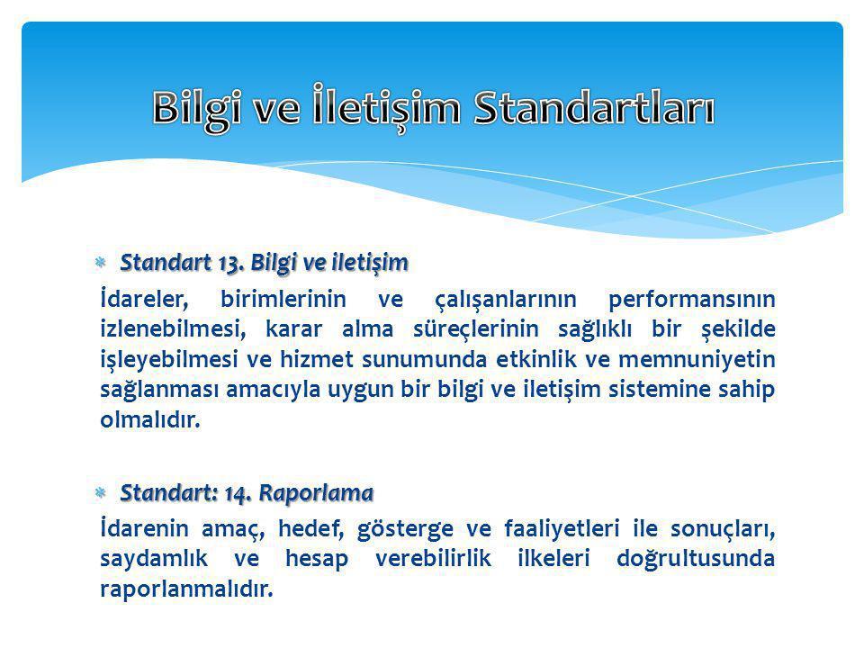  Standart 13. Bilgi ve iletişim İdareler, birimlerinin ve çalışanlarının performansının izlenebilmesi, karar alma süreçlerinin sağlıklı bir şekilde i