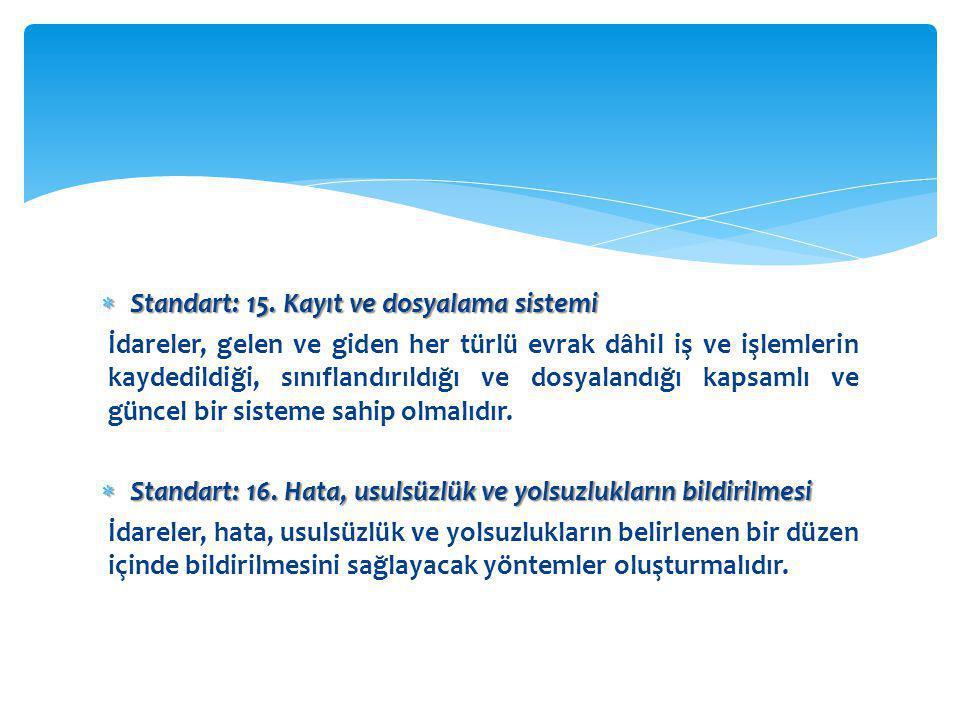  Standart: 15. Kayıt ve dosyalama sistemi İdareler, gelen ve giden her türlü evrak dâhil iş ve işlemlerin kaydedildiği, sınıflandırıldığı ve dosyalan