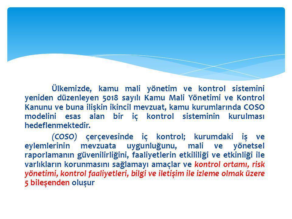 Ülkemizde, kamu mali yönetim ve kontrol sistemini yeniden düzenleyen 5018 sayılı Kamu Mali Yönetimi ve Kontrol Kanunu ve buna ilişkin ikincil mevzuat,