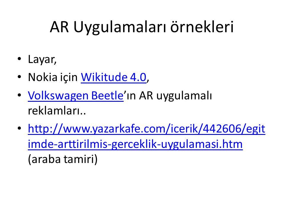 AR Uygulamaları örnekleri • Layar, • Nokia için Wikitude 4.0,Wikitude 4.0 • Volkswagen Beetle'ın AR uygulamalı reklamları.. Volkswagen Beetle • http:/