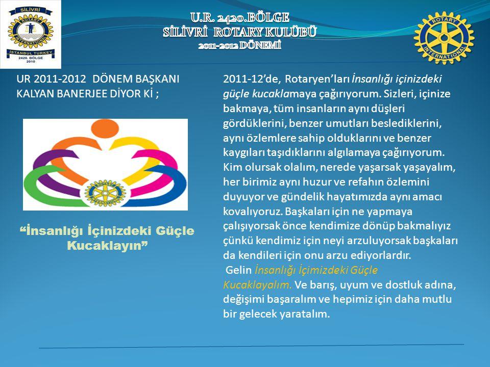 2011-12'de, Rotaryen'ları İnsanlığı içinizdeki güçle kucaklamaya çağırıyorum. Sizleri, içinize bakmaya, tüm insanların aynı düşleri gördüklerini, benz