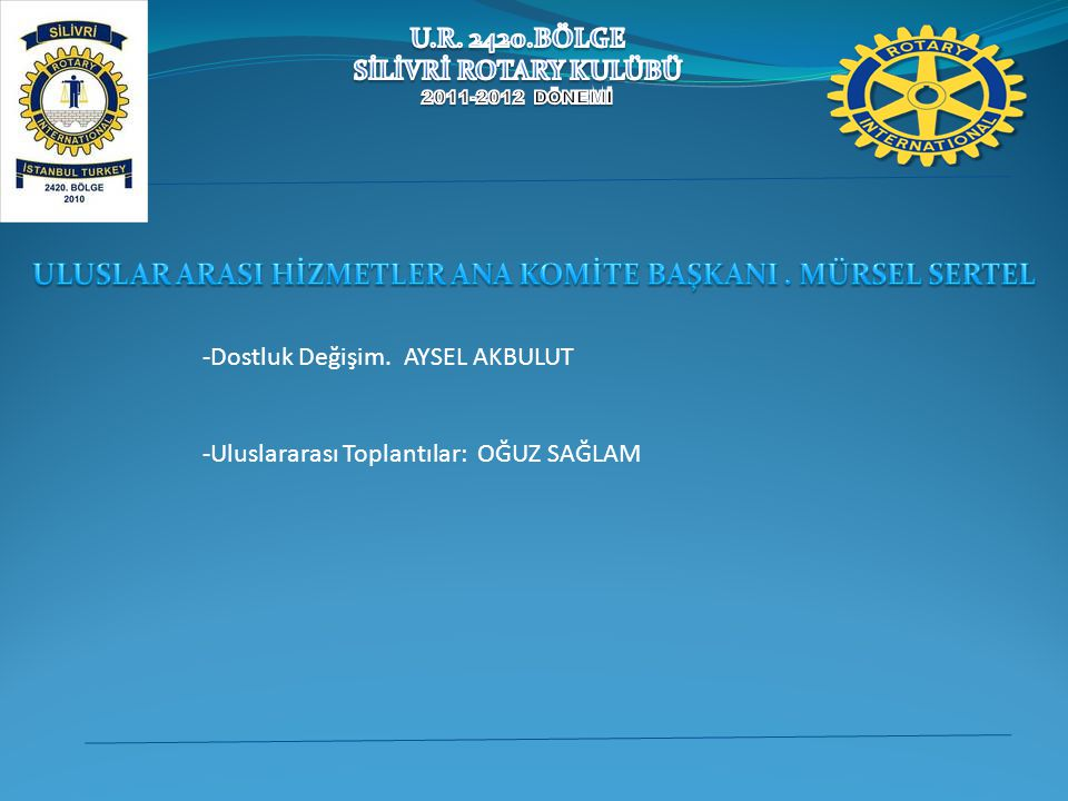 -Dostluk Değişim. AYSEL AKBULUT -Uluslararası Toplantılar: OĞUZ SAĞLAM