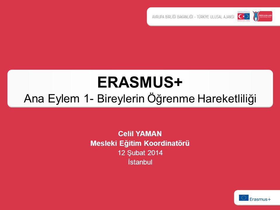 ERASMUS+ Ana Eylem 1- Bireylerin Öğrenme Hareketliliği Celil YAMAN Mesleki Eğitim Koordinatörü 12 Şubat 2014 İstanbul