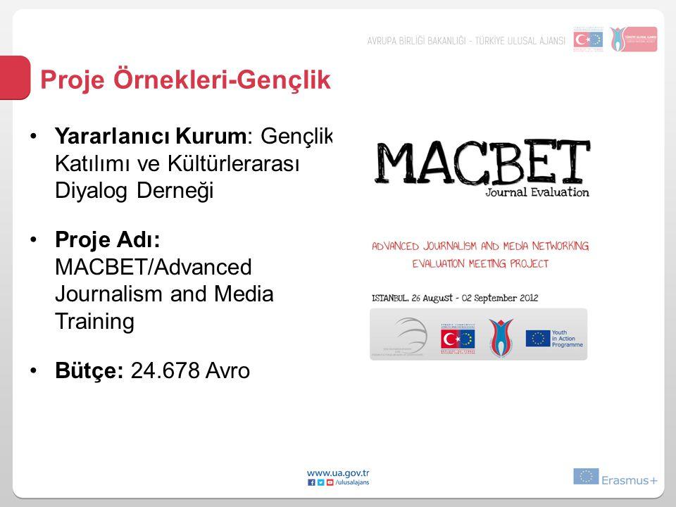 Proje Örnekleri-Gençlik •Yararlanıcı Kurum: Gençlik Katılımı ve Kültürlerarası Diyalog Derneği •Proje Adı: MACBET/Advanced Journalism and Media Traini