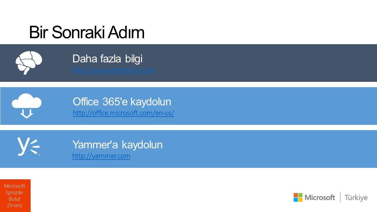 Bir Sonraki Adım Office 365'e kaydolun http://office.microsoft.com/en-us/ Daha fazla bilgi http://www.sharepoint.com Yammer'a kaydolun http://yammer.c