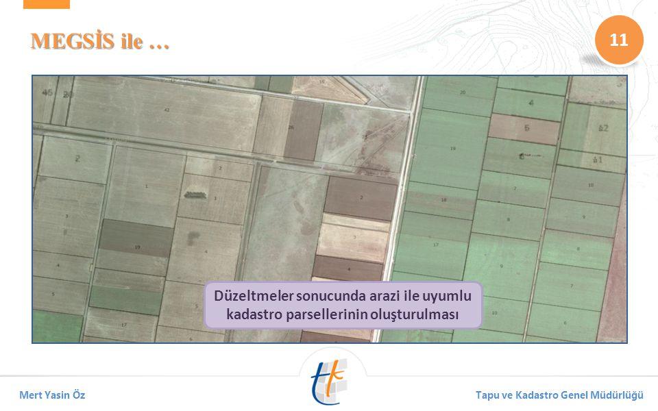 11 Mert Yasin ÖzTapu ve Kadastro Genel Müdürlüğü MEGSİS ile … Su havzalarında kamulaştırma sonrası aktif kalan parsellerin tespiti Yollar üzerinde kal