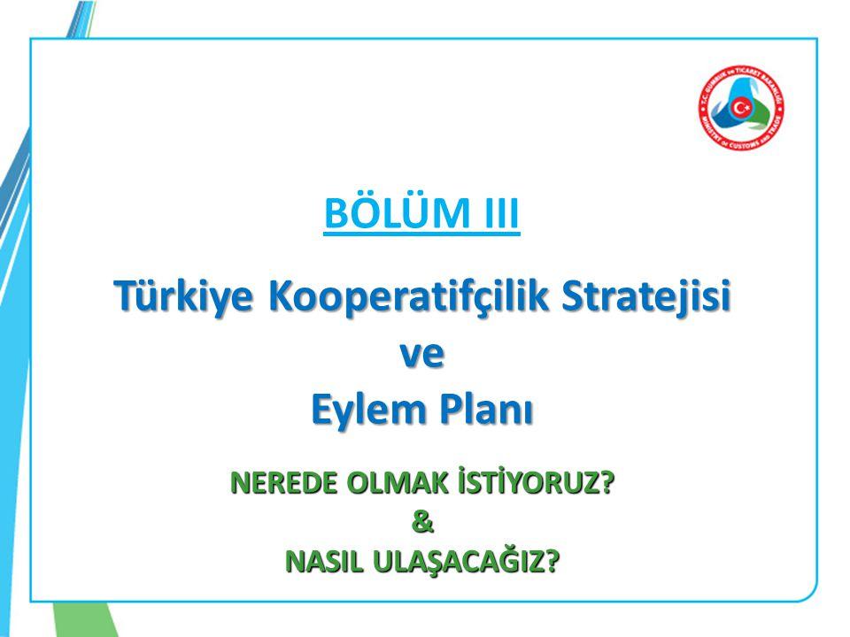 BÖLÜM III Türkiye Kooperatifçilik Stratejisi ve Eylem Planı NEREDE OLMAK İSTİYORUZ.
