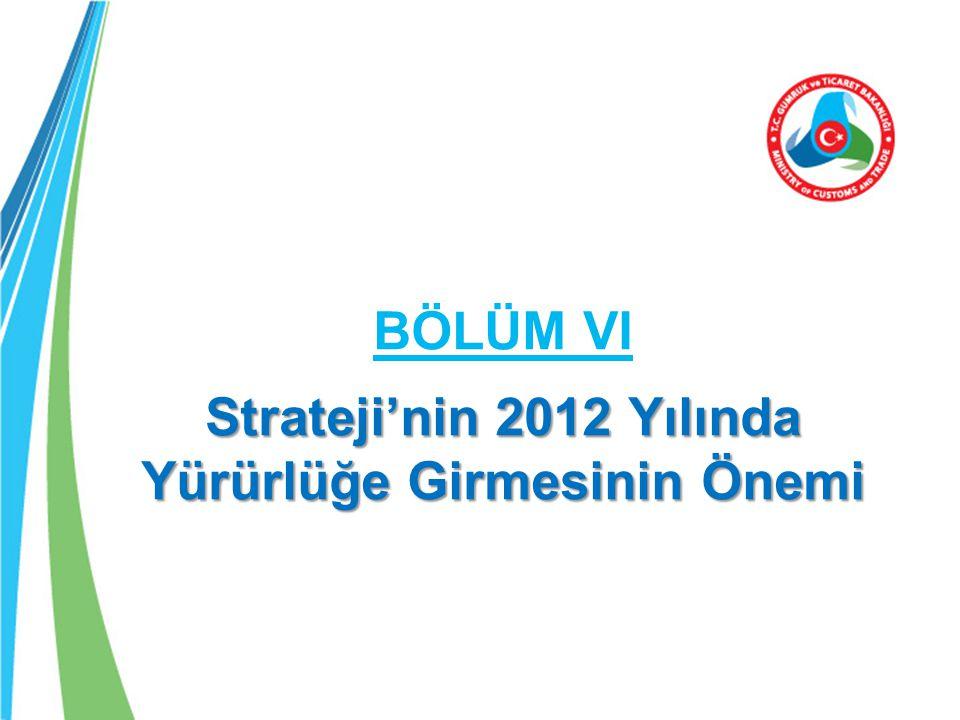 BÖLÜM VI Strateji'nin 2012 Yılında Yürürlüğe Girmesinin Önemi