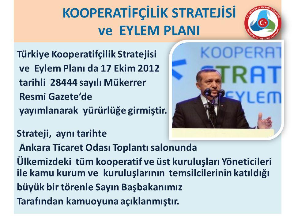 KOOPERATİFÇİLİK STRATEJİSİ ve EYLEM PLANI Türkiye Kooperatifçilik Stratejisi ve Eylem Planı da 17 Ekim 2012 tarihli 28444 sayılı Mükerrer Resmi Gazete'de yayımlanarak yürürlüğe girmiştir.